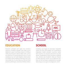 School education line template vector