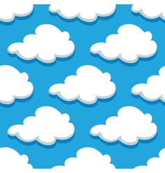 Seamless cartoon cloudscape pattern on cyan vector image