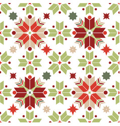 seamless pattern of geometric snowflakes nordic vector image