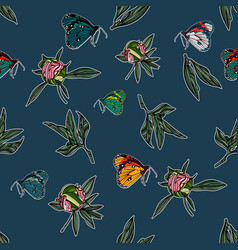 seamless pattern with leaves and butterflies vector image