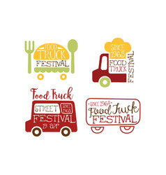 Set of creative emblems for food truck vector