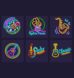 Set of neon icons with musical vector