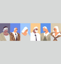 set senior businesspeople avatars mix race vector image