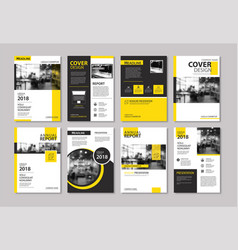 Set yellow cover and layout brochure flyer vector