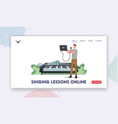 Singing lessons online landing page template tiny vector