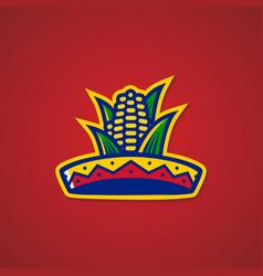 sombrero hat corn mexican restaurant logo sticker vector image