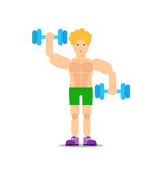 sporty boy lifting dumbbells icon vector image