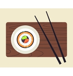 Sushi on plate and a pair of chopsticks vector image