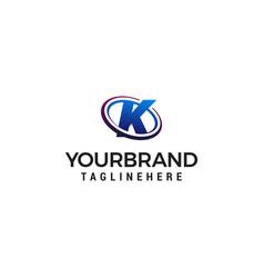 Swoosh letter k technology logo concept template vector