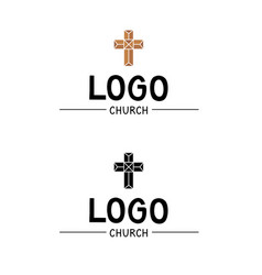 The church logo with a cross in stained glass vector