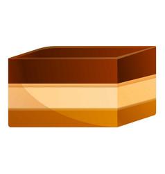 Tiramisu cake icon cartoon style vector
