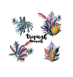 tropical palm leaves bouquets vector image