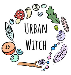 Urban witch lettering with colorful doodles in vector