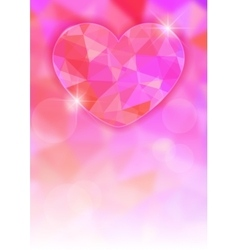 Valentines Day card with precious heart on light vector image
