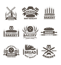 vintage bakery labels set logo template in vector image