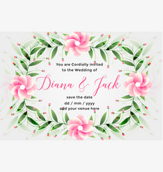 wedding card design with lovely flower decoration vector image