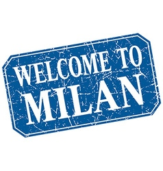 Welcome to Milan blue square grunge stamp vector