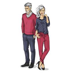 Woman and man models vector