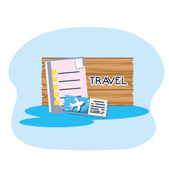wooden board ticket airline tourist vacation vector image