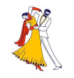 young couple dancing waltz or tango people active vector image