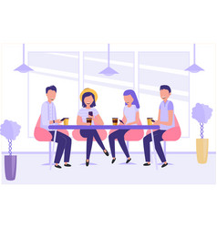 young people sitting in cafe chatting and vector image