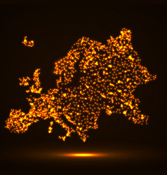 abstract map of of europe with glowing particles vector image vector image
