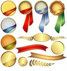collection awards with ribbons vector image vector image