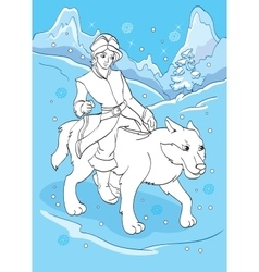 Coloring Book Of Prince Ivan Rides Grey Wolf vector image vector image
