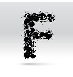 Letter F formed by inkblots vector image vector image