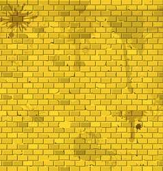 Old dirty yellow brick wall background vector image vector image