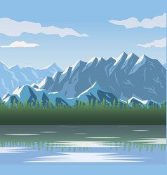 Realistic landscape background of snowy mountains vector