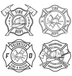 Set of fire department emblems and badges vector image
