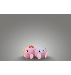 two cute cartoon monster back to back rear light vector image