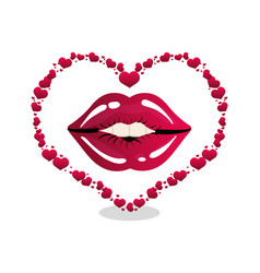 woman lips heart shape vector image