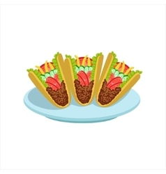 Crispy Taco Traditional Mexican Cuisine Dish Food vector image vector image