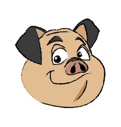 cute pig face funny piggy smiling vector image vector image