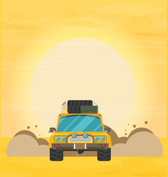 Flat design of car in motion on a safari trip vector