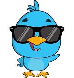 Hipster Bird Cartoon with Sunglasses vector image vector image
