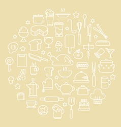 Kitchen and Food Outline icons vector image