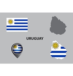 Map of Uruguay and symbol vector image vector image