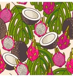 Seamless pitaya and coconut vector image