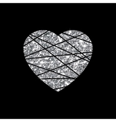 Silver heart sign Metal shape isolated on black vector image