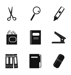 stationery symbols icon set simple style vector image vector image