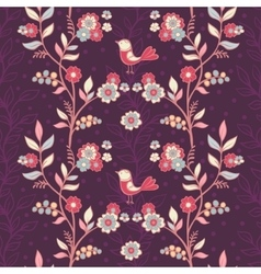 Vintage floral pattern with birds and flowers vector image vector image