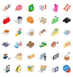 woman shopping icons set isometric style vector image