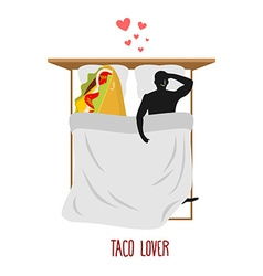 Lover taco Love to Mexican food Fastfood and man vector image vector image