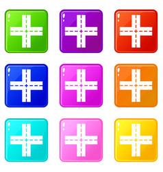 crossing road set 9 vector image vector image