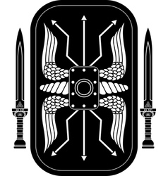 fantasy roman shield and swords vector image vector image