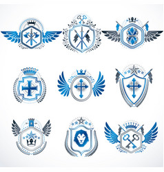 heraldic decorative emblems made with royal vector image
