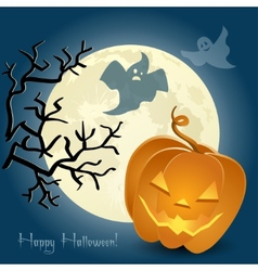 Pumpkin ghosts and a tree in front of the moon vector image
